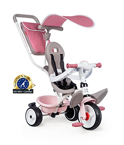 Smoby - Tricycle Baby Balade Plus Rose - Vélo Evolutif Enfant Dès 10 Mois - Roues Silencieuses -...
